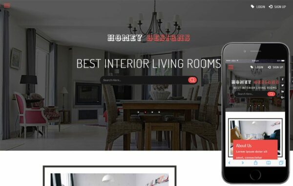 Homey Designs an Interior Category Flat Bootstrap Responsive Web Template