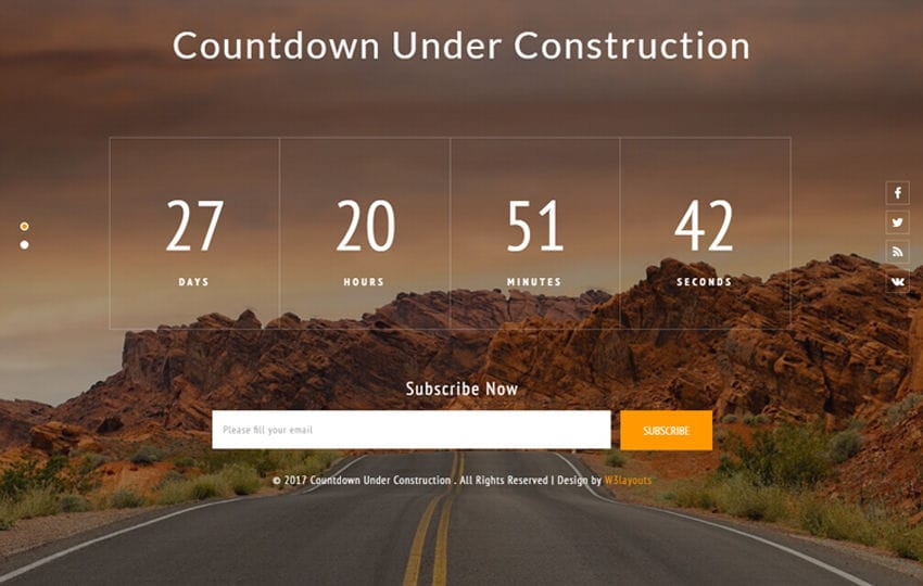 Countdown Under Construction Flat Responsive Widget Template