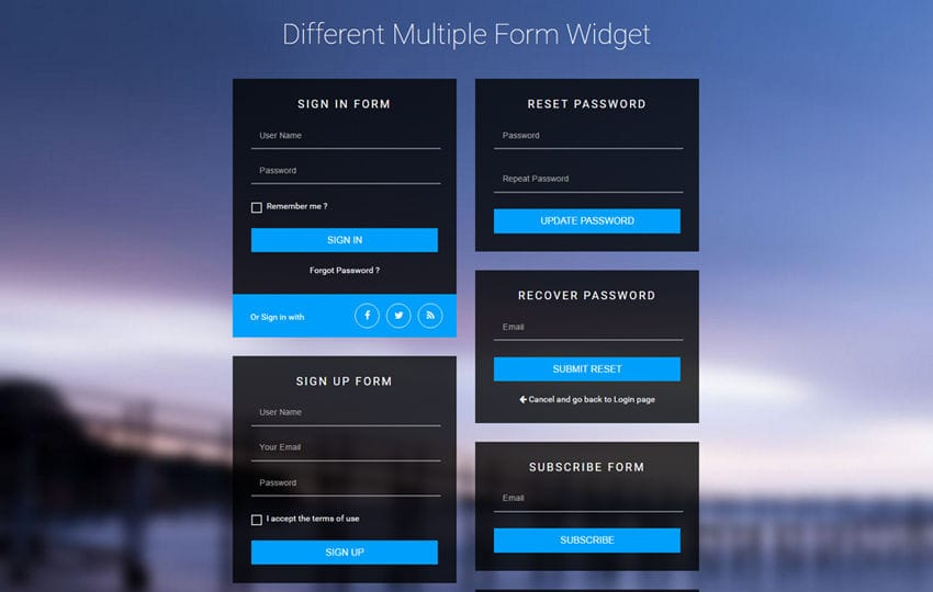 Different Multiple Form Widget Flat Responsive Widget Template