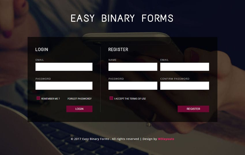 Easy Binary Forms a Flat Responsive Widget Template
