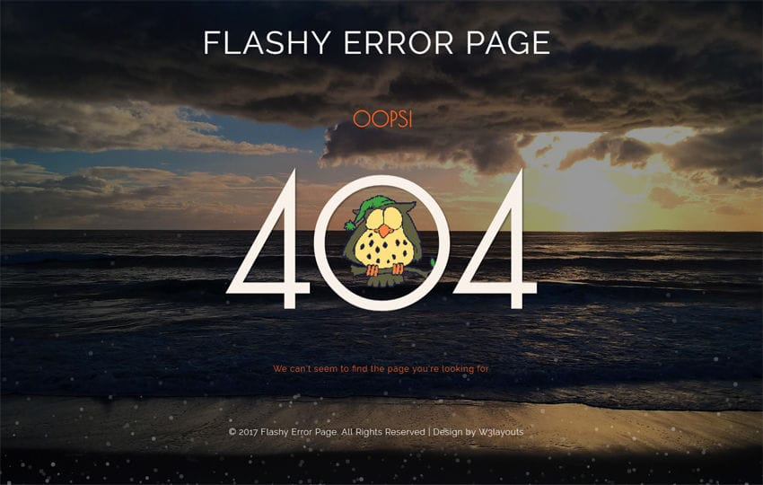 Flashy Error Page a Flat Responsive Widget Template