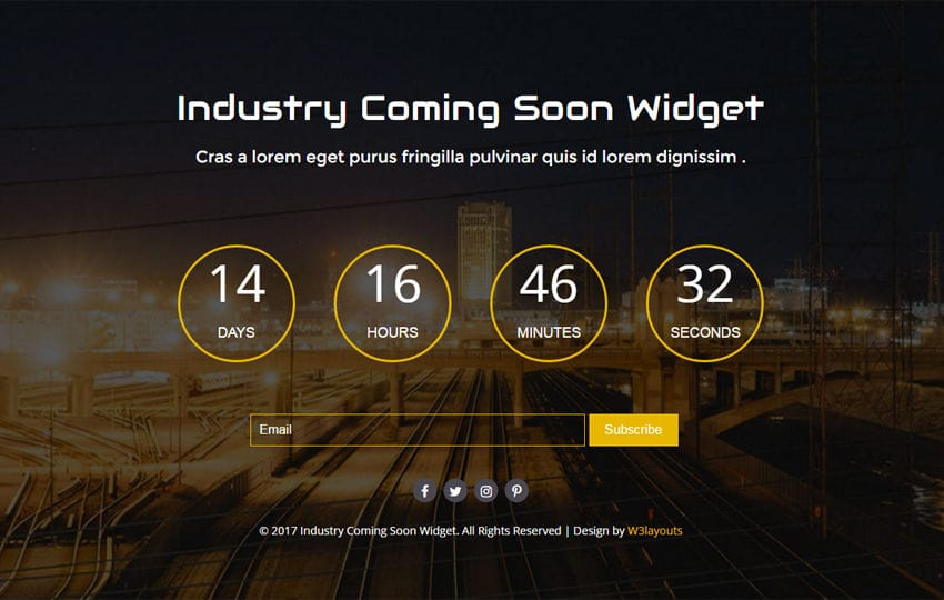 Industry Coming Soon Widget Flat Responsive Widget Template