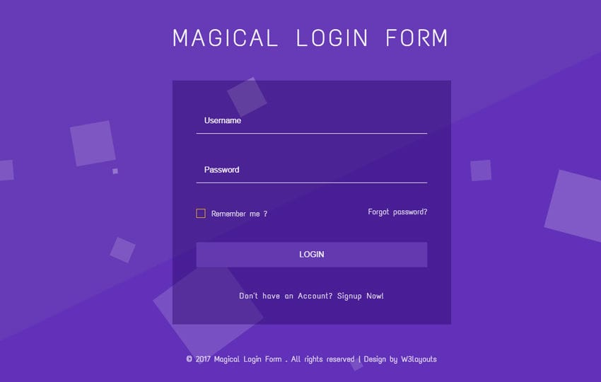 Magical Login Form Flat Responsive Widget Template