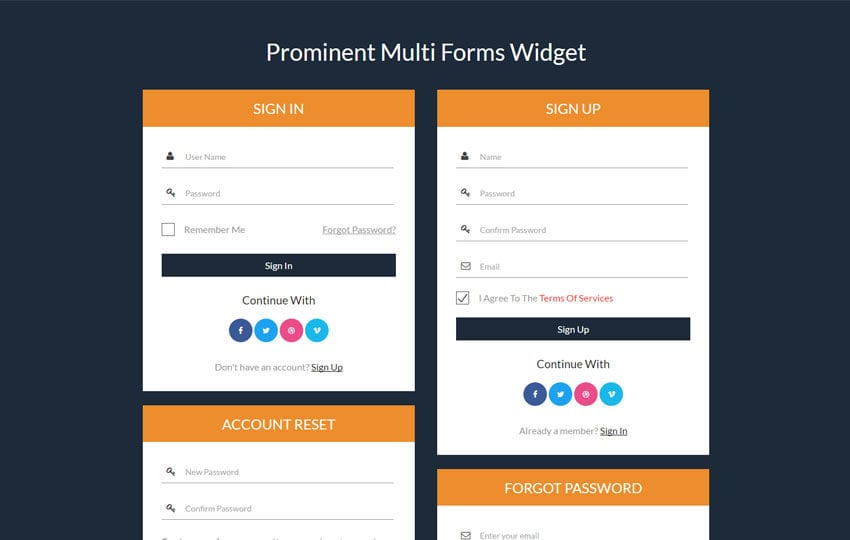 Prominent Multi Forms Widget a Flat Responsive Widget Template