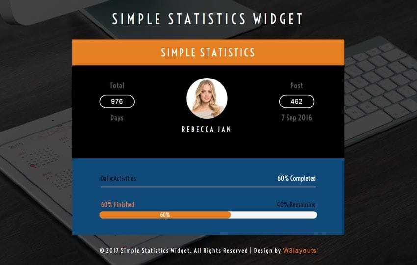 Simple Statistics Widget Responsive Widget Template