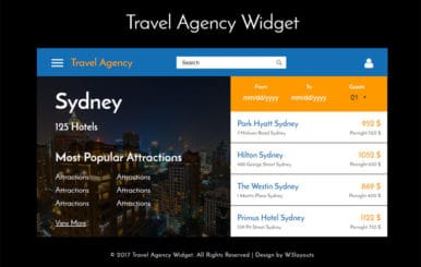 Travel Agency Widget a Flat Responsive Widget Template