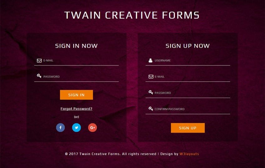 Twain Creative Forms Responsive Widget Template
