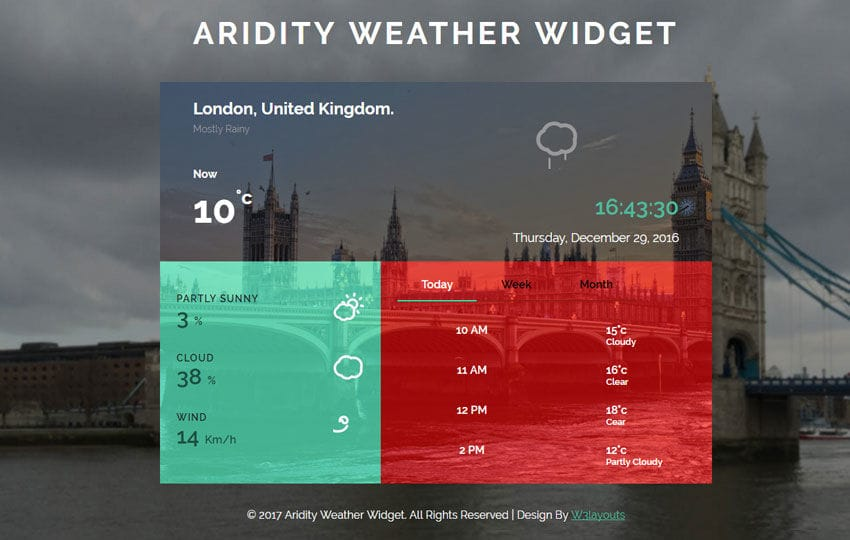 Aridity Weather Widget Flat Responsive Widget Template