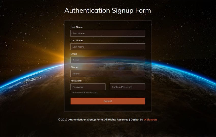 Authentication Signup Form Flat Responsive Widget Template