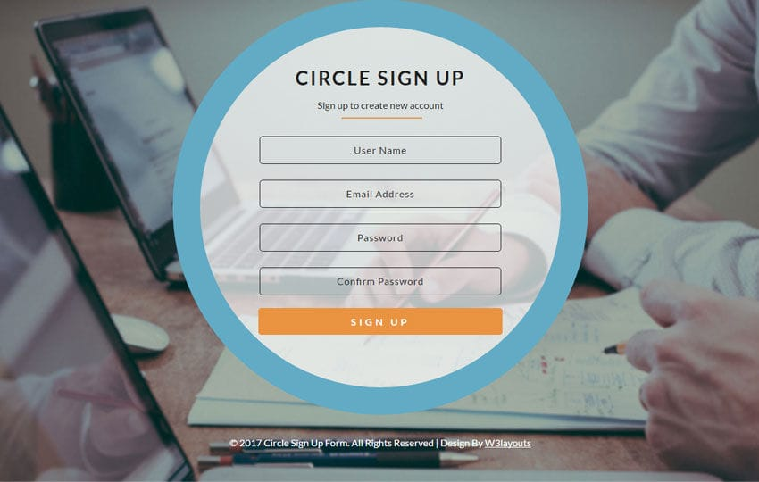 Circle Sign Up Form Flat Responsive Widget Template
