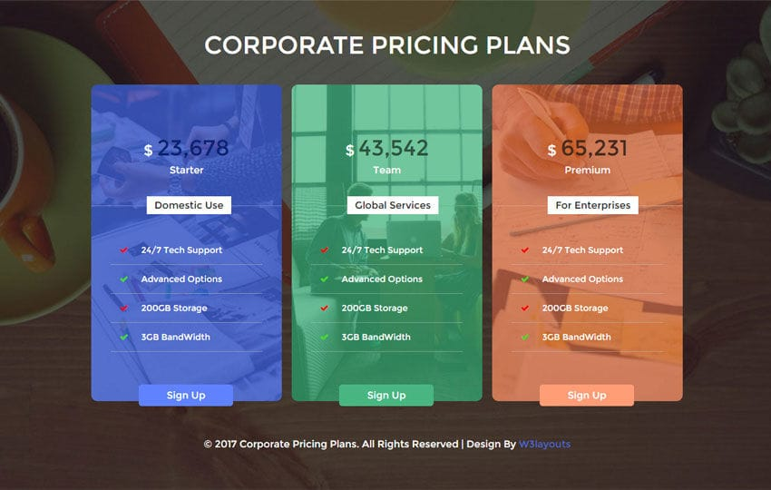 Corporate Pricing Plans Flat Responsive Widget Template