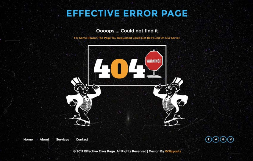 Effective Error Page Flat Responsive Widget Template