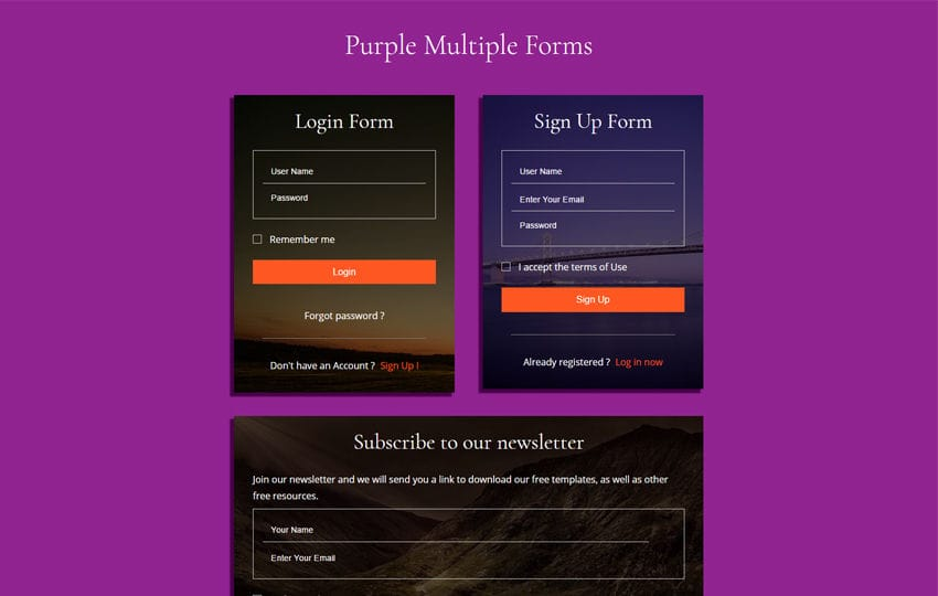 Purple Multiple Forms Flat Responsive Widget Template