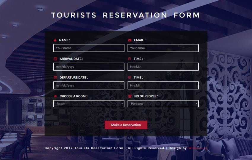 Tourists Reservation Form Responsive Widget Template