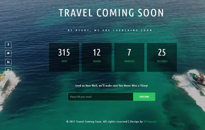 Travel Coming Soon a Flat Responsive Widget Template