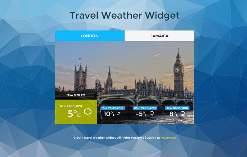Travel Weather Widget Flat Responsive Widget Template