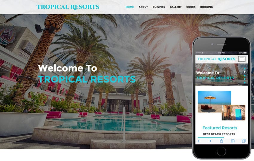 Tropical Resorts a Hotels and Restaurants Category Bootstrap Responsive Web Template