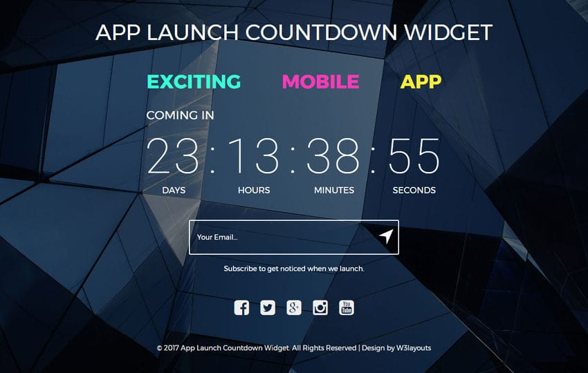 App Launch Countdown Widget a Flat Responsive Widget Template