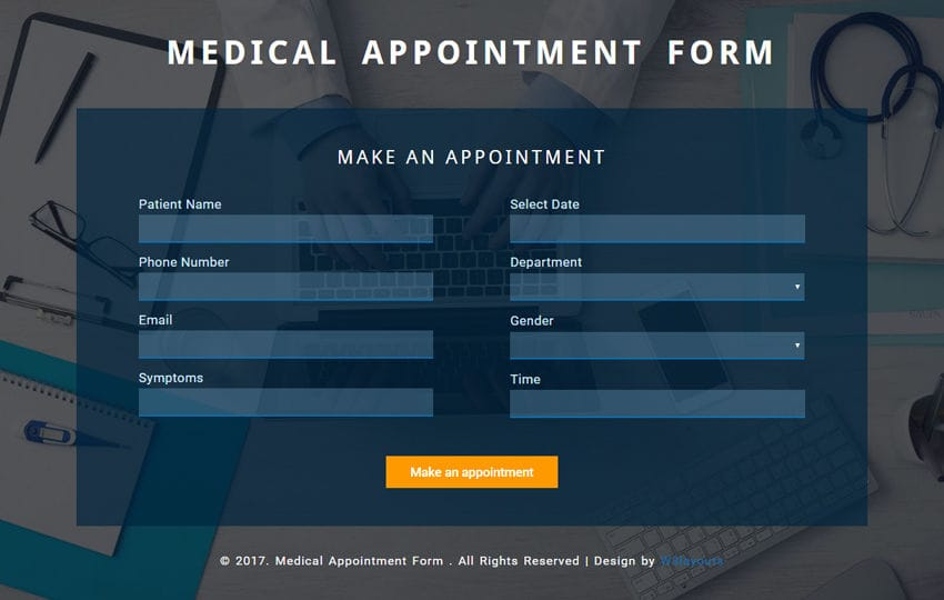 Medical Appointment Form a Flat Responsive Widget Template