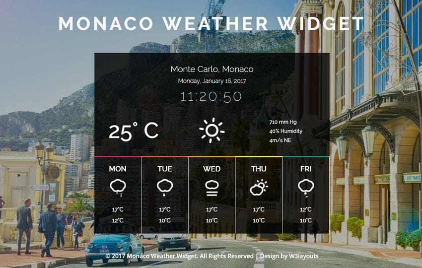 Monaco Weather Widget a Flat Responsive Widget Template