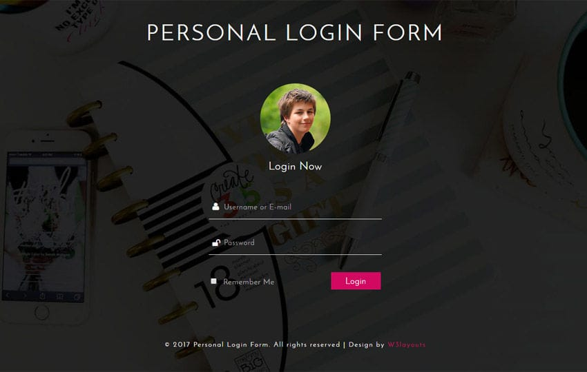 Personal Login Form Responsive Widget Template