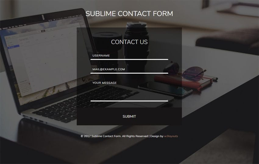 Sublime Contact Form Flat Responsive Widget Template
