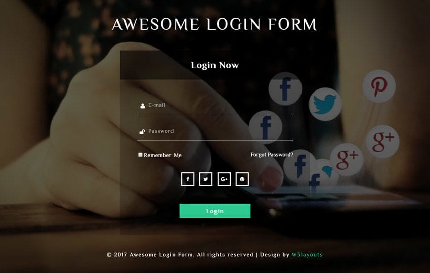 Awesome Login Form Responsive Widget Template