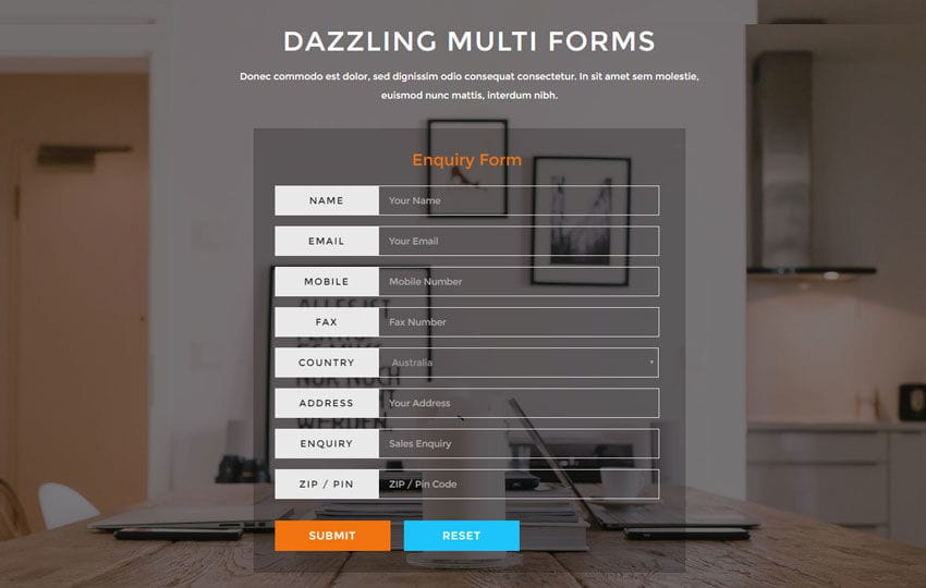 Dazzling Multi Forms Flat Responsive Widget Template