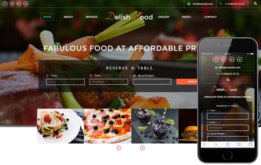 Delish Food a Hotels and Restaurants Flat Responsive Web Template