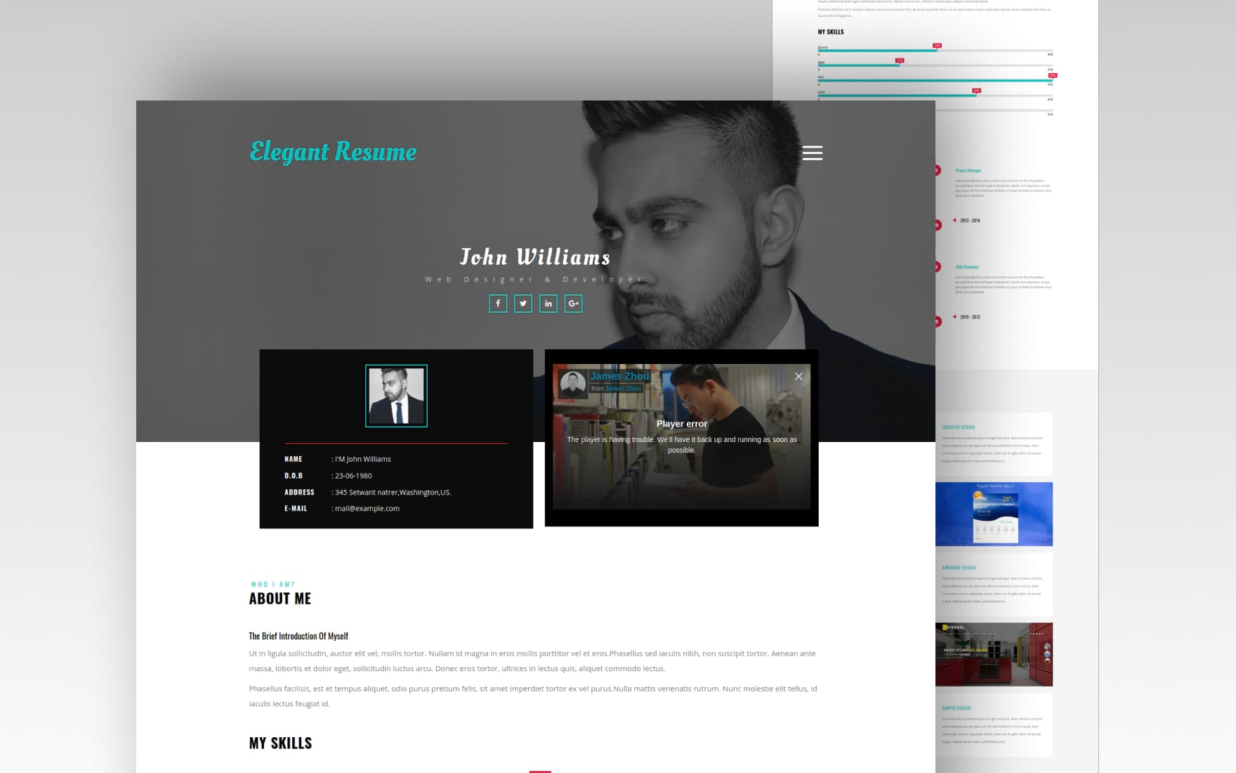 elegant resume website template