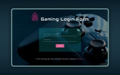 Gaming Login Form Responsive Widget Template