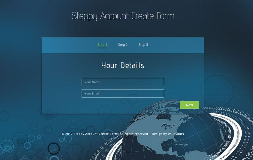 Steppy Account Create Form a Flat Responsive Widget Template