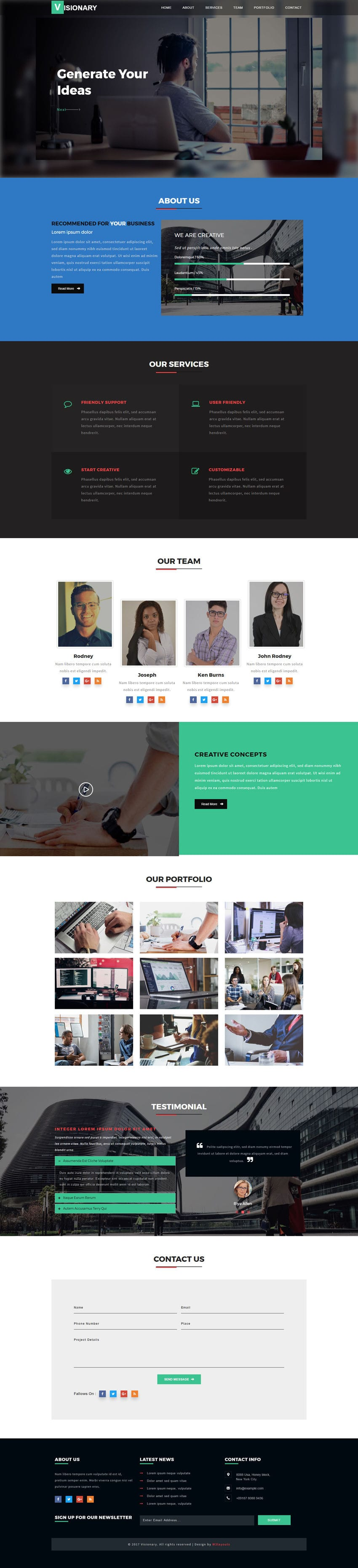 Visionary a Corporate Category Flat Bootstrap Responsive