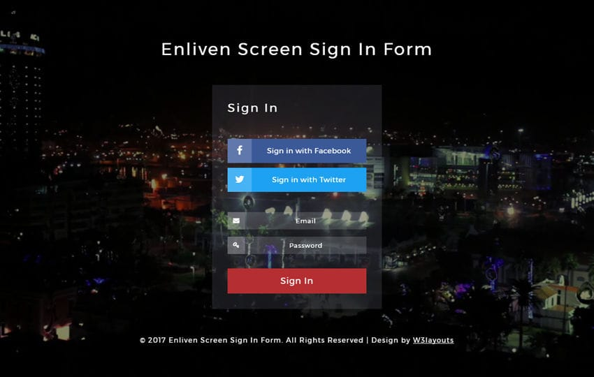 Enliven Screen Sign In Form Responsive Widget Template
