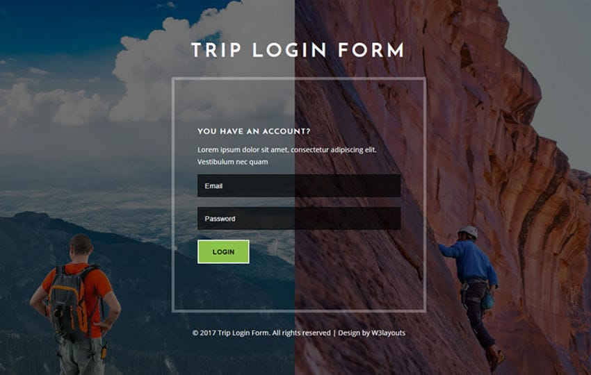 Trip Login Form Flat Responsive Widget Template
