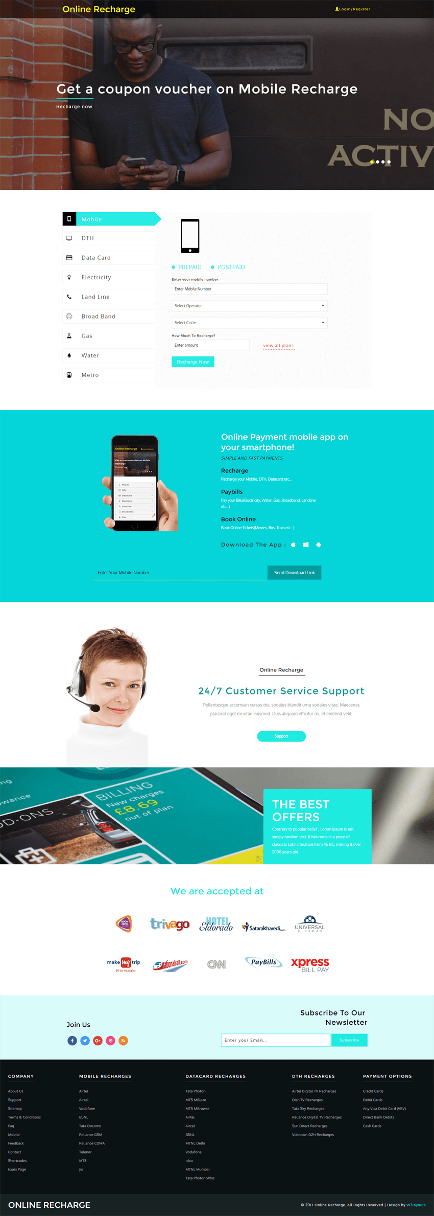 Online Recharge is a Bootstrap respomsive website template for online bill payment sites. This free HTML web template works well for all bill payment sites.