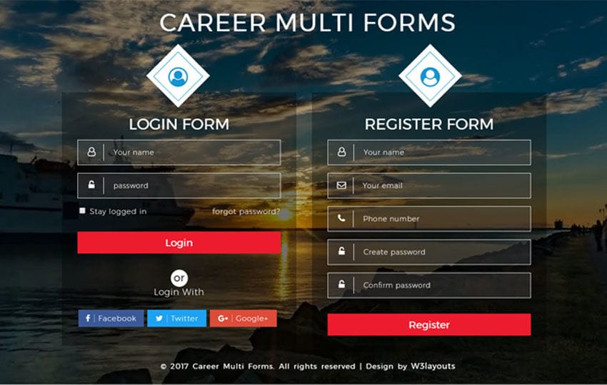 Career Multi Forms a Flat Responsive Widget Template