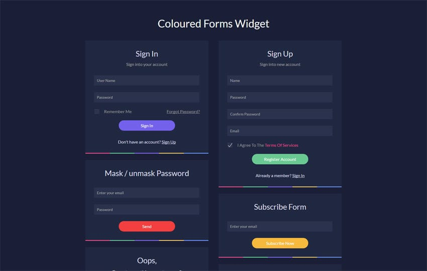 Coloured Forms Widget Flat Responsive Widget Template