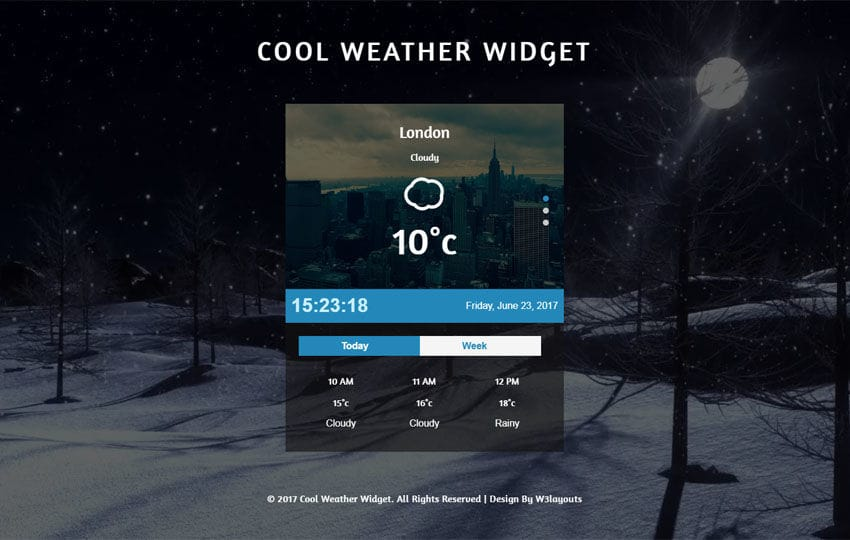 Cool Weather Widget Flat Responsive Widget Template