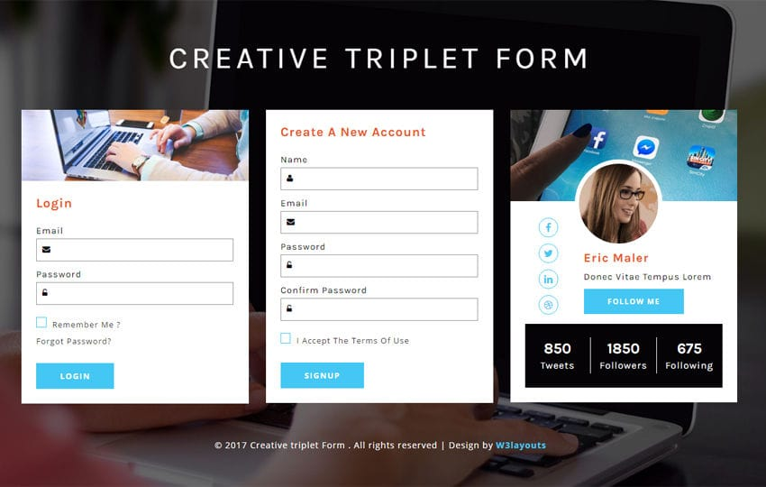 Creative triplet Form a Responsive Widget Template