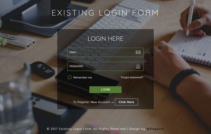 Existing Login Form a Flat Responsive Widget Template