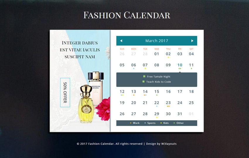 Fashion Calendar a Flat Responsive Widget Template