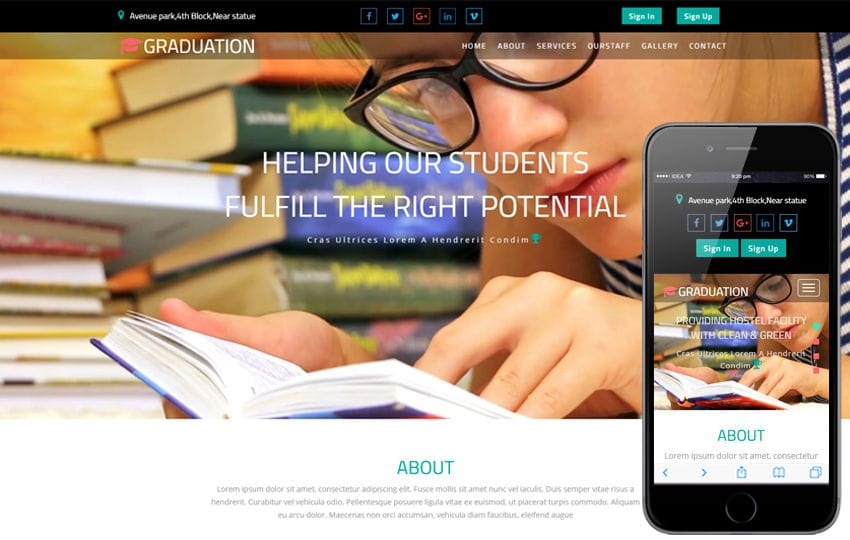 Graduation an Education Category Bootstrap Responsive Web Template
