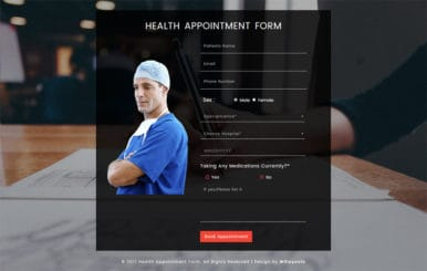 Health Appointment Form a Flat Responsive Widget Template