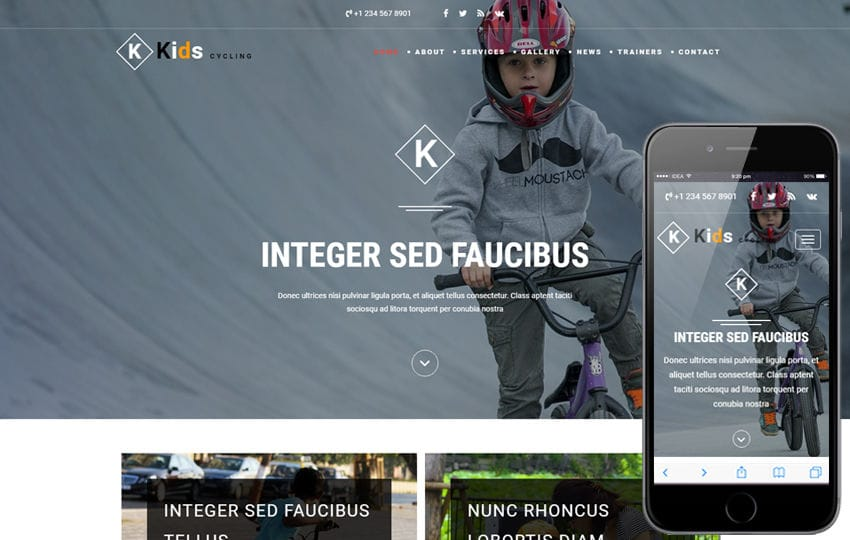Kids Cycling a Sports Category Bootstrap Responsive Web Template