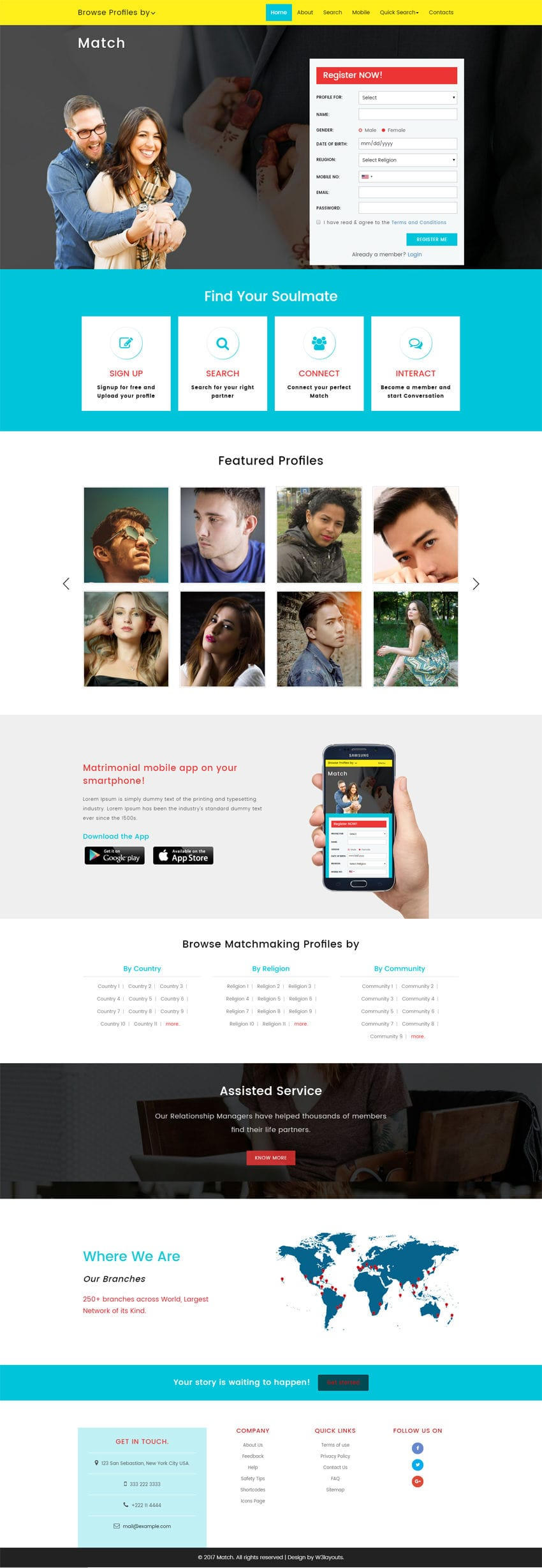Match is a wedding category Bootstrap responsive website template. This free web template is built with HTML & CSS and best suits matrimonial websites.