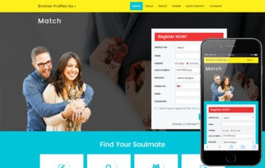 Match – Matrimonial Category Bootstrap Responsive Website Template