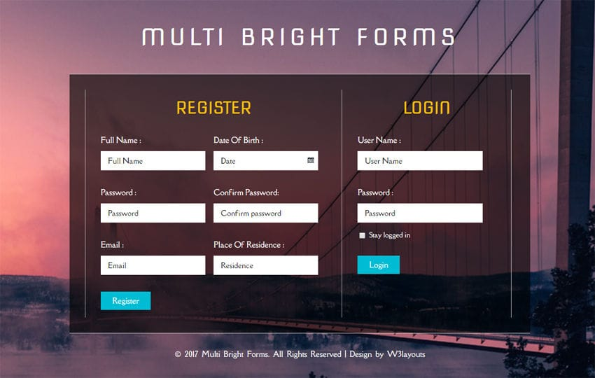 Multi Bright Forms a Flat Responsive Widget Template