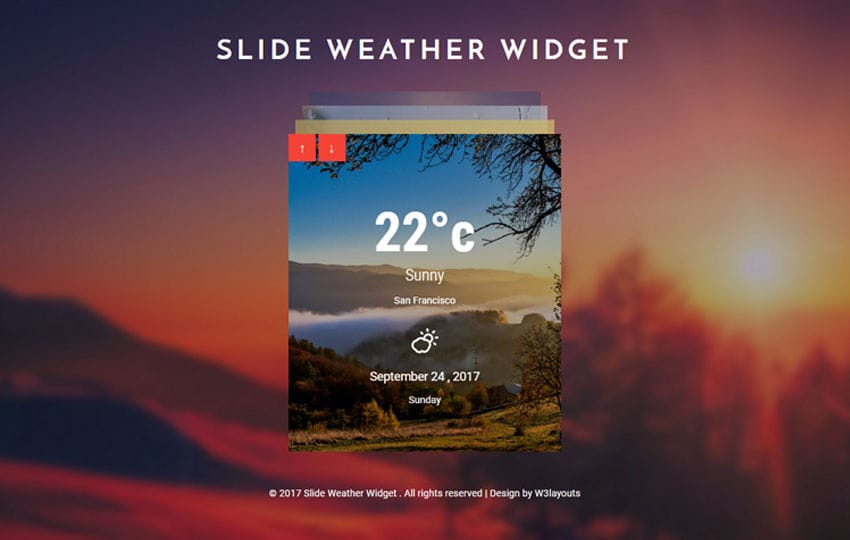 Slide Weather Widget Responsive Widget Template