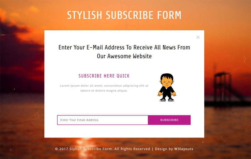Stylish Subscribe Form Responsive Widget Template
